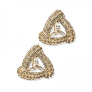 GOLD TRIANGLE QUARTZ EARRINGS